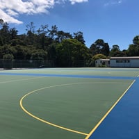Green court with blue surrounds