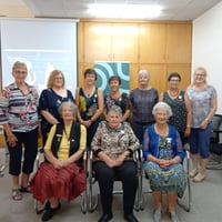Netball NZ and HCNC Service Award holders that were in attendance with Netball NZ Life Member Anne Taylor. Back Row (L-R) Kath Farrell; Edna Brown; Jenny Gerrand; Margaret Webby; Lesley Satherley; Val Temm; Lillian Martin Front Row (L-R) - Renee Boyd, Mar
